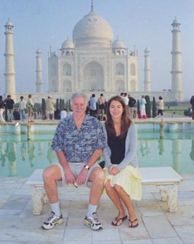 Dad and Daughter visit the Taj Mahal
