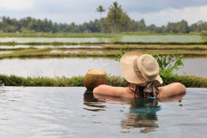 Swimming pool overlooking rice fields, Bali