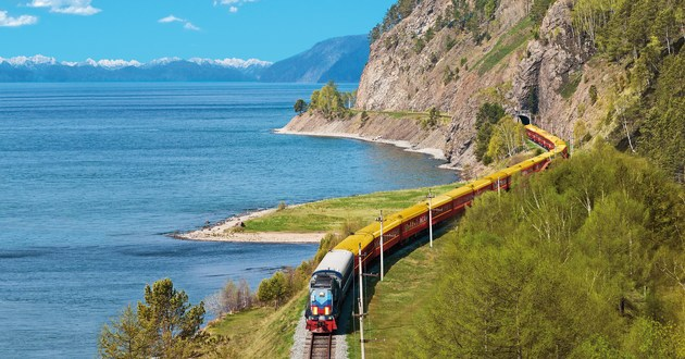 The Tsars Gold train follows the edge of Lake Baikal
