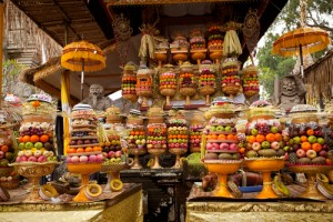 Offerings of fruit and other food at a temple during Nyepi, Bali