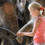 A young girl meets some of the locals at Elephant Hills, Thailand.