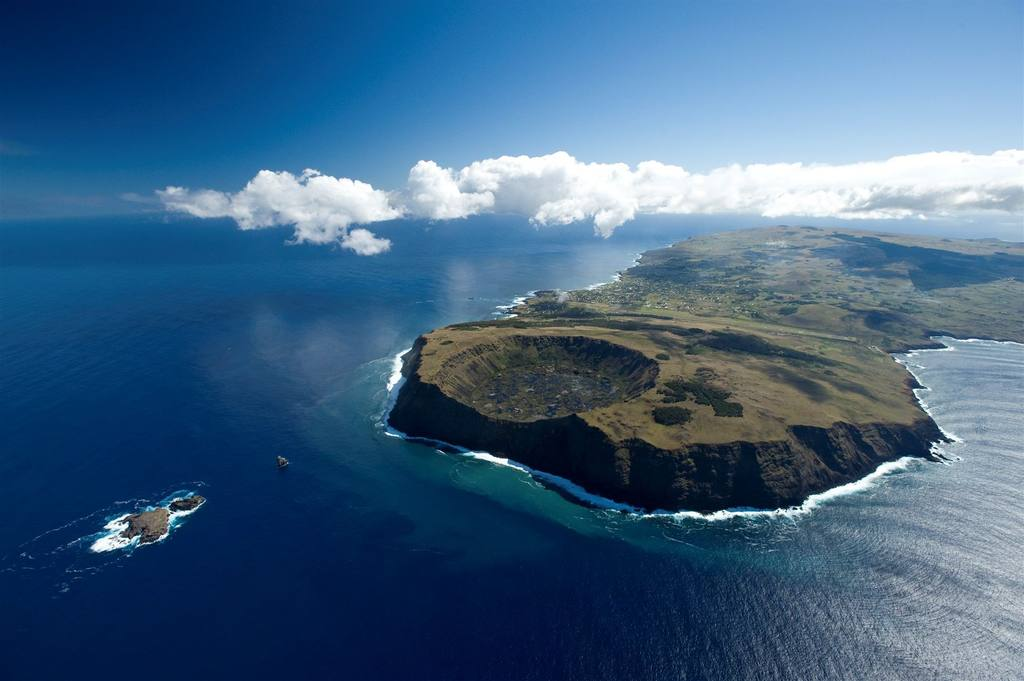 Aerial view of Easter Island, Chile