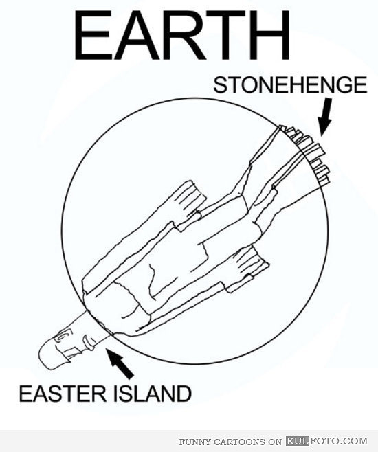 Easter Island and Stonehenge Cartoon