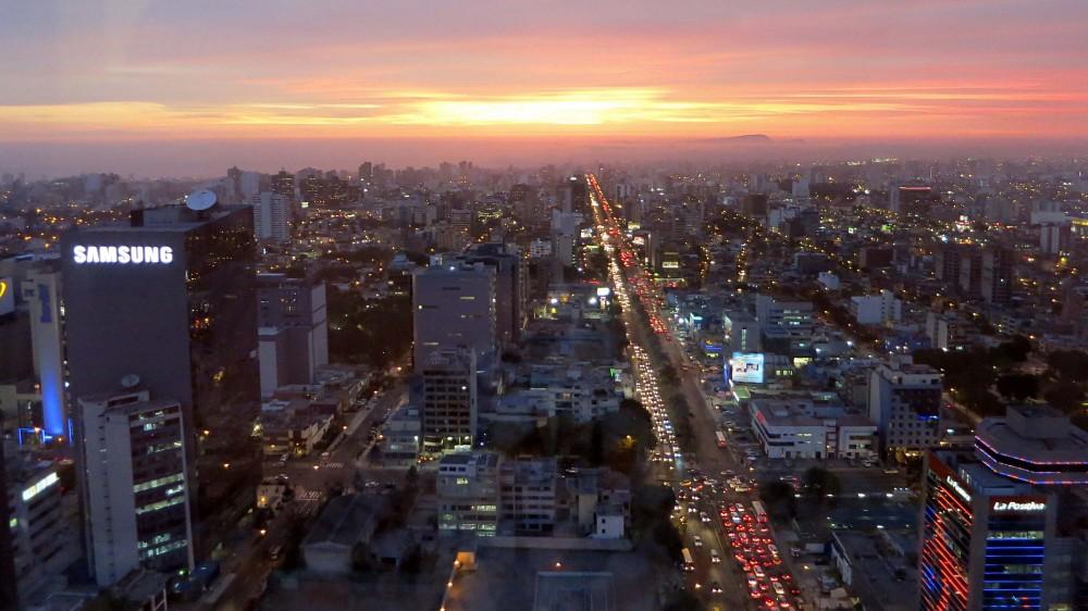 Beautiful sunset in Lima, Peru