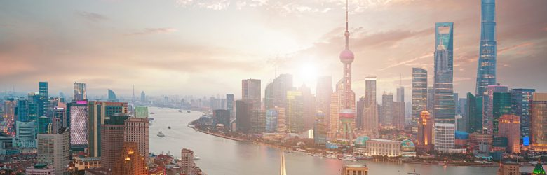 Shanghai Financial District and Bund Skyline at Sunrise, China