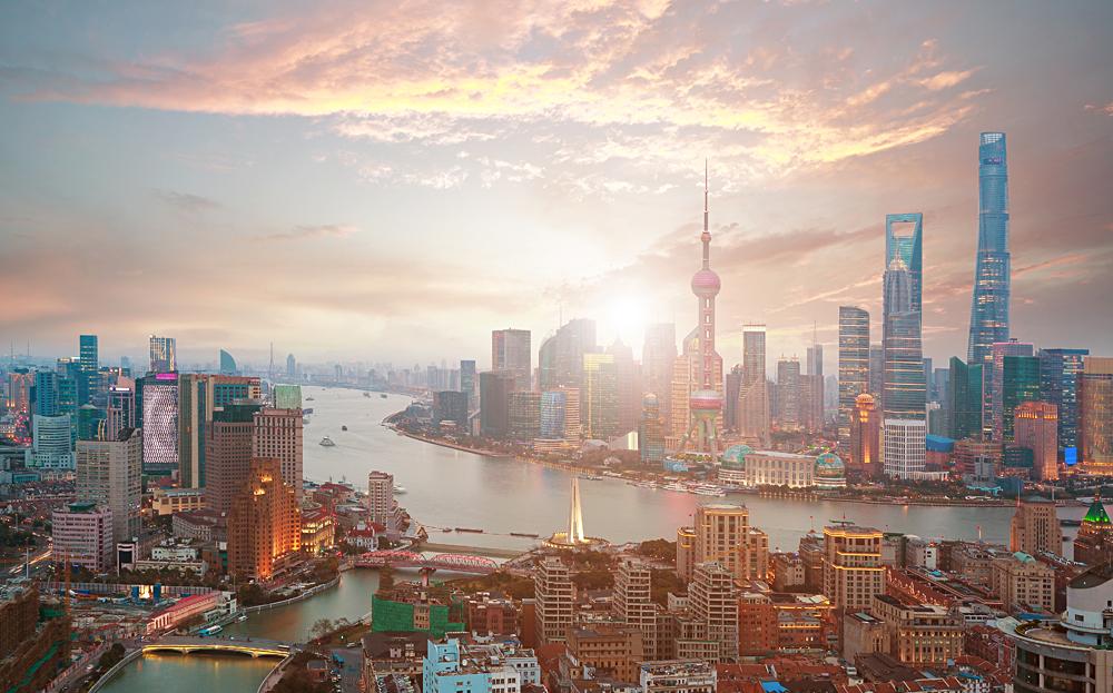 Shanghai Financial District and Bund Skyline at Sunrise, China