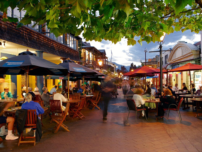 Shops and restaurants in Queenstown, New Zealand