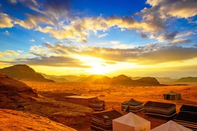 Wadi Rum at sunset is an essential inclusion for all Jordan tours.