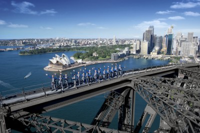 134 Metres above the road on the Sydney the Harbour Bridge Climb is a great inclusion on all Australia tours