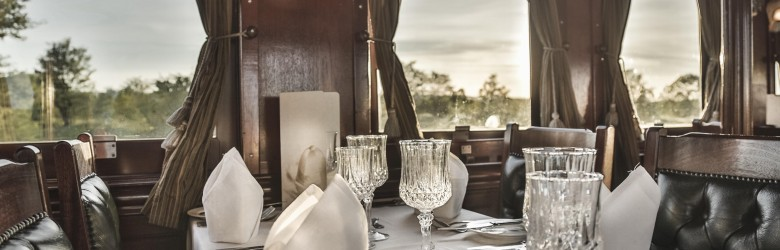 The dining car aboard the Royal Livingstone Express