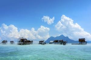 Bajau floating villages off the coast of Sabah, Borneo