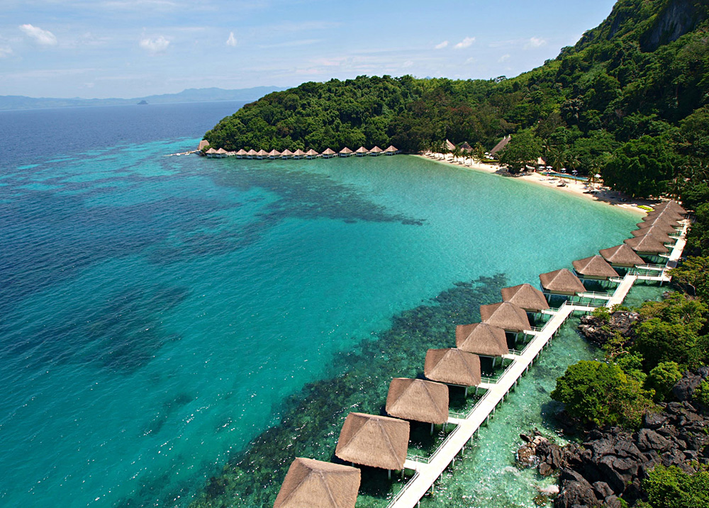 Aerial View of Water Cottages at El Nido Apulit Island Resort, Philippines