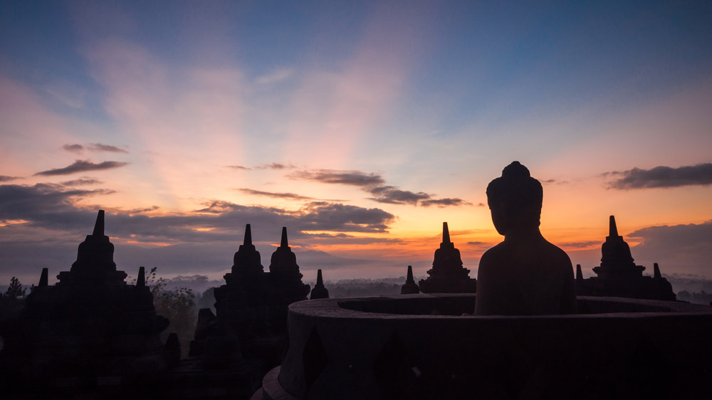 Borobudur Temple at sunrise Yogyakarta Java Indonesia