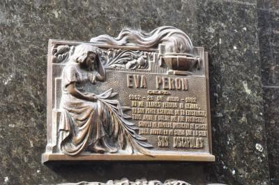 Eva Peron's stone in Recoleta, Buenos Aires, Argentina