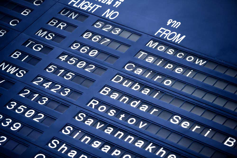Airport flight information screen