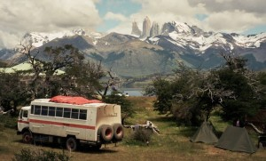 Old-school Overland Buses, camping along the Andes