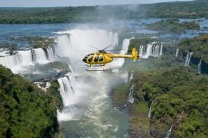 Helicopter over Iguassu Falls