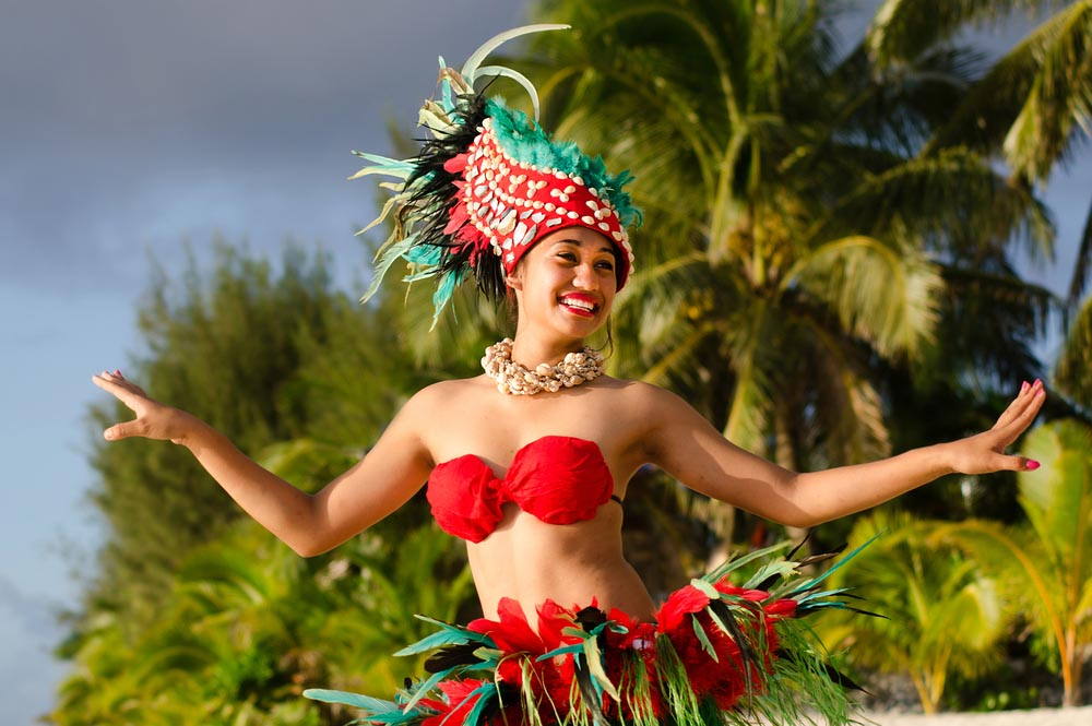 Polynesian Pacific Island Tahitian female dancer
