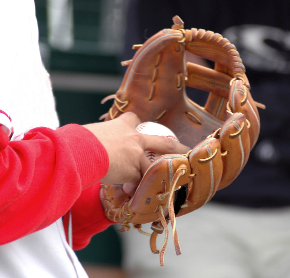 View into the glove of a pitcher