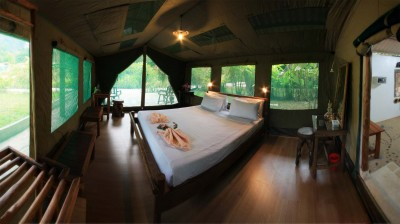 A guest room at Elephant Hills Camp