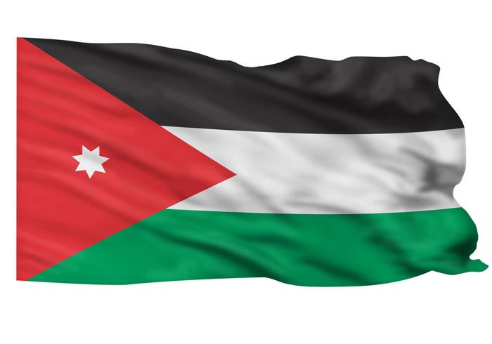 Flag of Jordan flying high in the sky