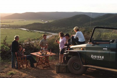 Sundowners on a game drive, Kariega Private Game Reserve