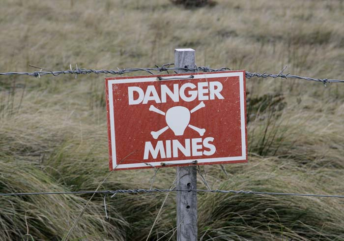Landmines sign in the Falklands