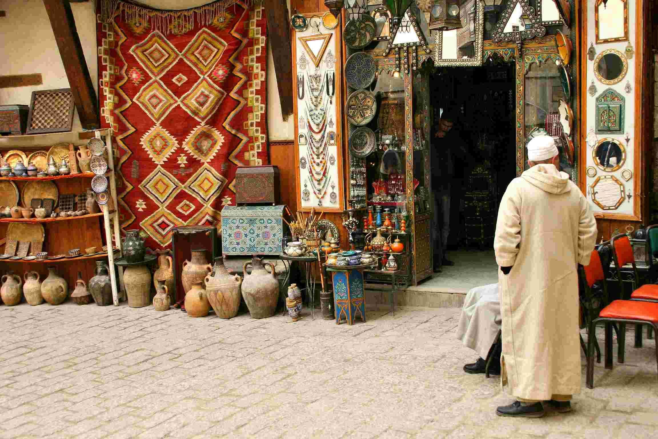 Traditional Shopping Centre in the Medina, Marrakesh, Morocco