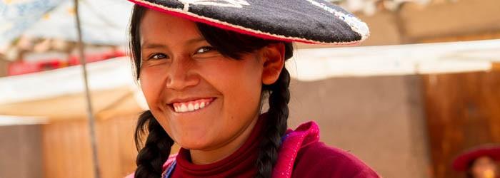 Quechua woman sells handcrafts