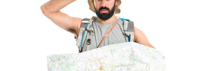 Surprised backpacker