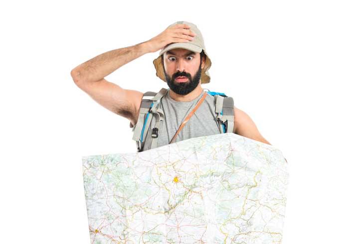 Surprised backpacker