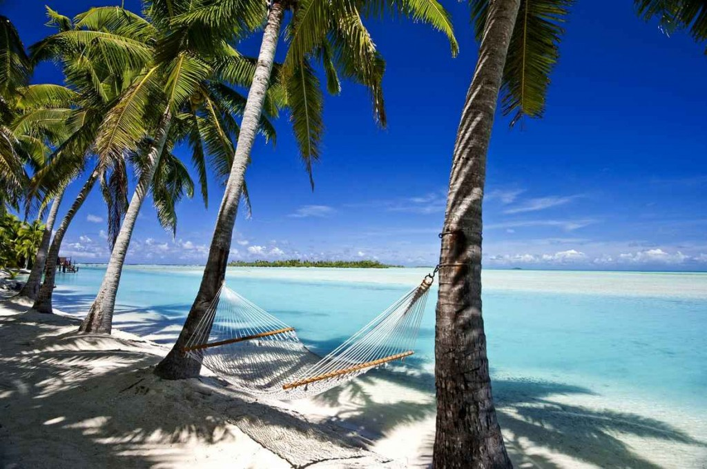 Hammock on beach, Aitutaki, Cook Islands