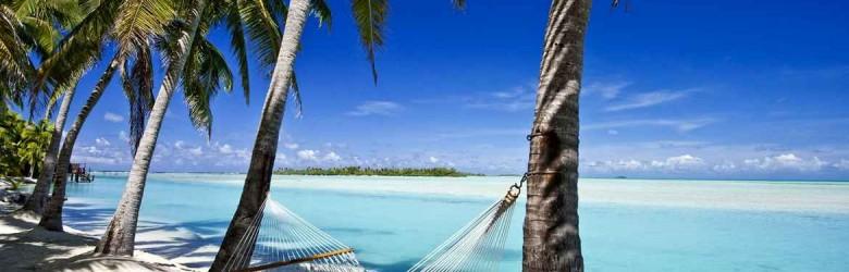 Hammock on beach, Aitutaki, Cook Islands