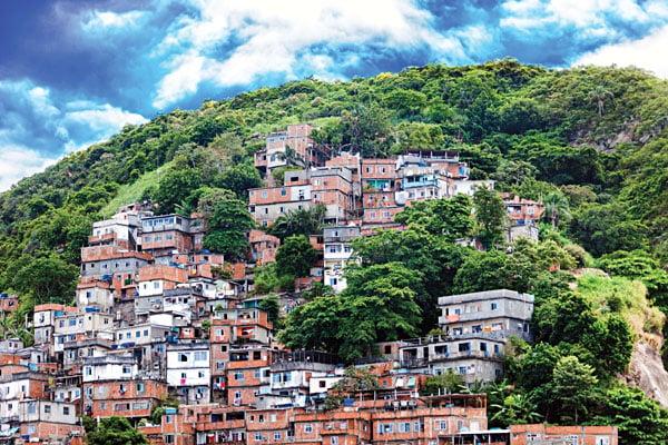 Favela - a Brazilian slum on a hillside in Rio