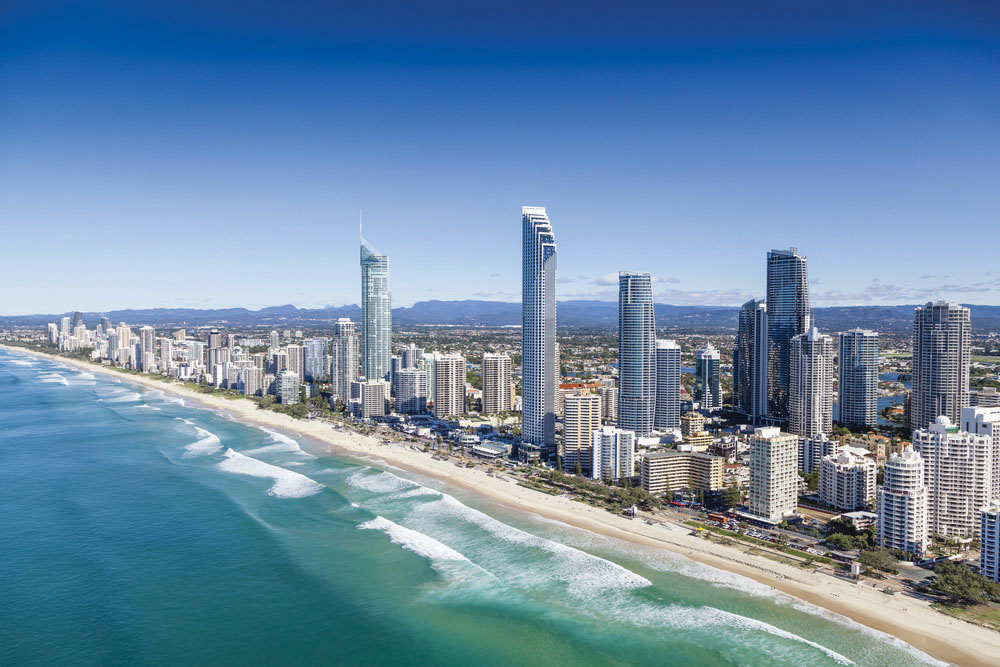 Aerial view of Gold Coast's Surfers Paradise
