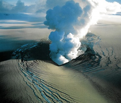 Enjoy an aerial view of a volcano on your Iceland tour.
