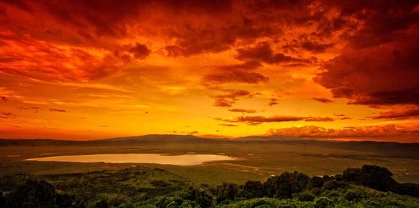 Ngorongoro Crater at sunset