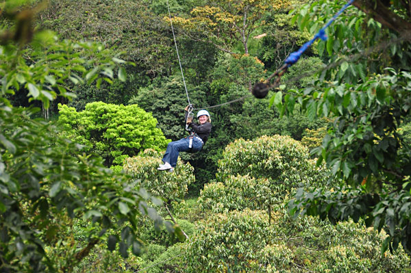 Zip-lining in the Mindo Cloud Forest, Ecuador