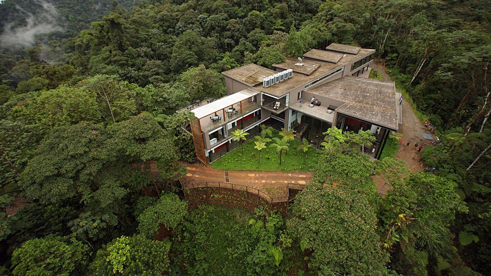 Aerial view of Mashpi Lodge, Ecuador