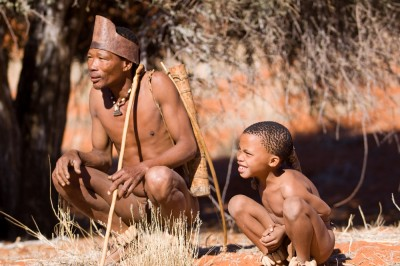 Namibia bushmen in the Kalahari desert