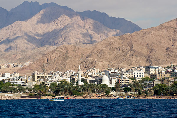 Seaside view of Aqaba and the Red Sea