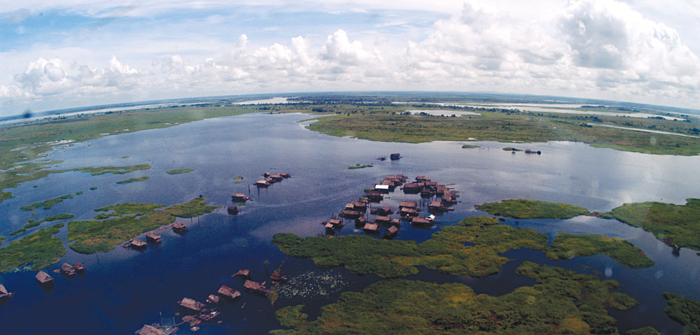 Aerial view of a village on Sepik River, Papua New Guinea