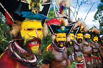 Papua New Guinea - Tribe in Yellow Paint