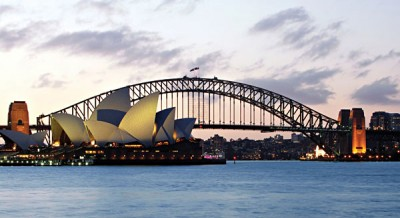 Sydney harbour at sunset