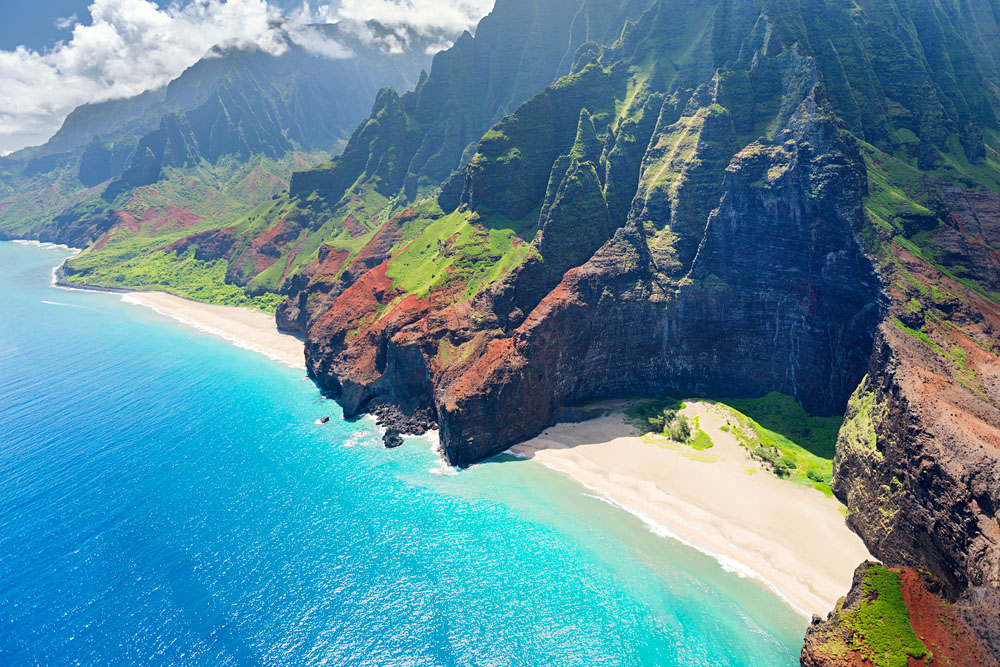 Aerial view of Na Pali Coast in Kauai