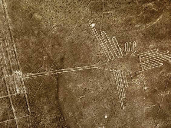 Aerial view of Nazca Lines Hummingbird, Peru