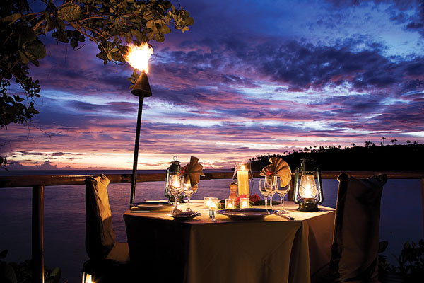 Romantic dining at Namale Resort & Spa