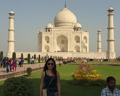 Karen Wang in Front of Taj Mahal, India