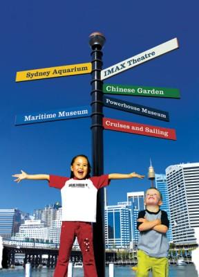 Kids Under Museum Signs, Sydney, Australia