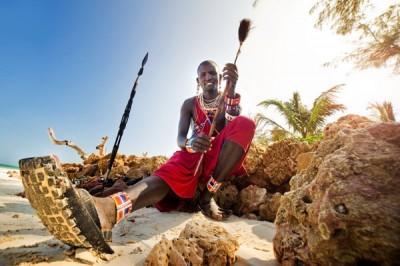 Maasai on the beach in Mombasa